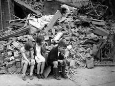 Children Debris London Bombing WWII War WW2 Old BW Giant Wall Print POSTER