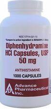 Diphenhydramine 50mg Allergy Medicine Generic Benadryl 1000 Capsules per Bottle