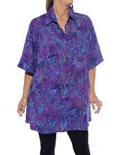 WeBeBop Women's Plus Size Batik Hibiscus Purple New Tunic Top