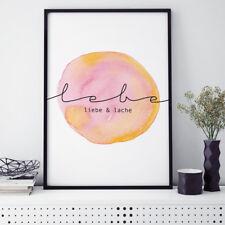 "JUNIWORDS Poster mit Rahmen ""Lebe liebe und lache"" Geschenk DIN A4 A3 A2 A1"