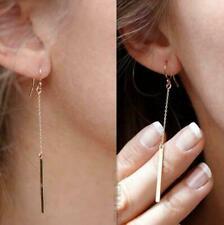 Women's 18K Gold Plated/Silver Long Chain Bar Tiny Dangle Drop Earrings