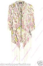 nuovo donna kimono Stampa Floreale Con frangia Size 10 12 14 16 Chiffon Nappa