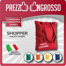 Shopper borsa della spesa supermercato cotone manici lunghi 38 x 42 cm 9 colori.