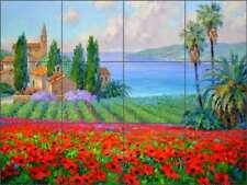 Mediterranean Tile Backsplash Senkarik Poppy Landscape Ceramic Mural MSA159