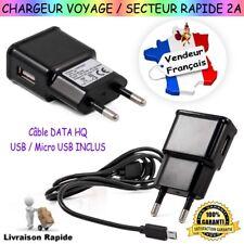 Chargeur Secteur / Voyage 2A ( Charge Rapide ) + Câble DATA HQ : USB / Micro USB