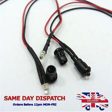 12V LED Diode Light 20cm Cable Line Wire 3mm Emitting Sign Light Clear + Holder