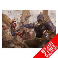 Cartel de la guerra de los Vengadores Infinito Thanos V Spiderman Iron Man impresión A4/A3