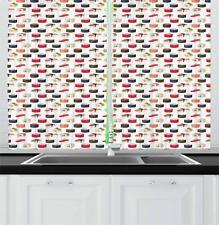 "Sushi Kitchen Curtains 2 Panel Set Window Drapes 55"" X 39"" Ambesonne"