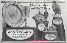 PUBLICITE GEO ROUARD PORCELAINE SAXE PATE DE VERRE GRONDAHL DE 1913 FRENCH AD