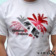 Bandiera Trinidad Tobago Palm-bianco T SHIRT TOP-LINEA UOMO DONNA Taglie Bambini & Baby