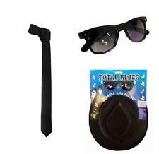 1980s Gangster Blues Brother Fancy Dress Set Hat & Glasses & Tie Fancy