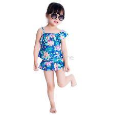 Mädchen Kinder Baby Zweiteiler Blumenmuster Tankini Badeanzug Blau Gr. 98-122