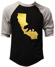 Men's Gold Foil California Map Bear Black Baseball Raglan T-Shirt Dope Cali Tee