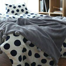 Faux Mink Fur Fleece Blanket Pom Pom Double Layer Sofa Bed Couch Throw Warm Soft