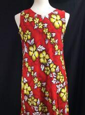 Mango Moon Mahalo Hawaiian Red Floral Print Long Dress New Tropical