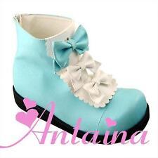 weiß blau lolita damen-stiefel boots Schuhe shoe white blue cute stiefeletten