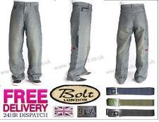 Bleubolt 20 Inch Hem Baggy Skater Grey Loose Fit Trousers Jeans Style 4080D