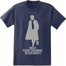 BBC Sherlock High Functioning Sociopath Navy Men's T-Shirt New