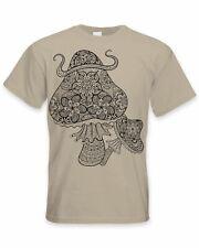 Magic Mushrooms Large Print Men's T-Shirt - Mushroom Psychedelic Festival