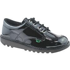 filles enfants Kickers Kick Lo CUIR VERNI NOIR Chaussures d'école 1-13498
