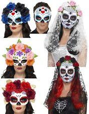 Day of the Dead Mask Halloween Ladies Sugar Skull Fancy Dress Skeleton New