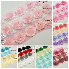 6 Shabby chiffon fabric flowers,Solid colour DIY Baby Headband Kit Craft supply