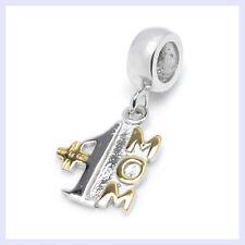 14k Gold on STR Silver Best Mom Number 1 Dangle Bead f/ European Charm Bracelet