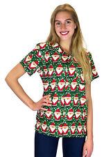 Blusa de Navidad, Camisa de Hawai, Christmas Santa Allover, Verde, XS - 6XL