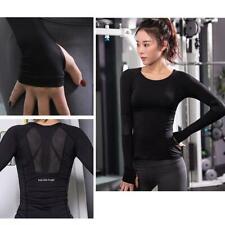 Women Gym Sports Shirt Yoga Top Fitness Running Long Sleeve T-Shirt Tops LC