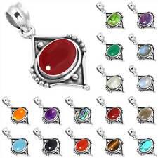 925 Sterling Silver Gemstone Handmade Pendant Women Jewelry eG571
