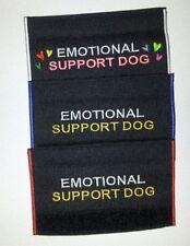 Embroider No Sew Dog Collar Leash Wrap Sleeve Black Cuff-EMOTIONAL SUPPORT DOG