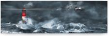 Leinwand auf Keilrahmen Leuchtturm Meer Wellen See Sturm Bild Fotografie Maritim