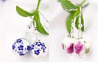 Blue Or Pink Round Ceramic Flower Hook Fastener Earrings 11mm Across