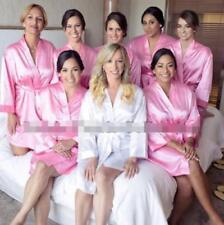 Womens Plain Faux Silk Satin Kimono Dressing Gown Bridal Bridesmaid Wedding Robe