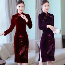 Retro Formal Long Sleeve Velvet Embroidered Cheongsam Qipao Party Cocktail Dress