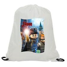 PERSONALISED LEGO HARRY POTTER SUBLIMATION GYM SWIMMING PE DRAWSTRING BAG