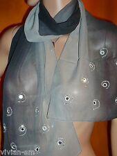edler Schal mit Spiegel + Perlen, 150 x 33, silber schwarz, Stola Tuch, NEU+TOP