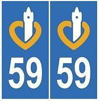 stickers autocollants plaques immatriculation auto Département Nord 59