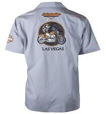 Harley-Davidson Las Vegas Babe Bike Flames Gray Work Shirt, S
