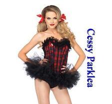 Ladies Sexy Black Red Plaid Naughty Nerdy Schoolgirl Costume Tutu