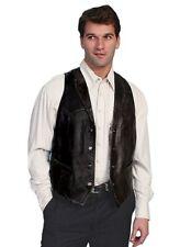 Scully Western Vest Mens Lambskin Button Whip Stitch Black 206-11