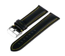 Lederarmband Kalbsleder Schwarz-Gelb LR-50 Glattleder Uhrenarmband Armband