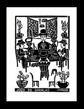 Brazil Folk Art Givanildo - Jogo do Baralho - Card Game - Gambling Woodcut Print