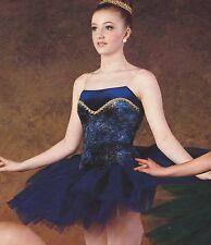 """NWT Gold Gilded Short Ballet Costume Navy Graduated Tutu Velvet ch 15"""" top skirt"""