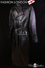 'OVERCOAT' Men's Black Full-Length Lambskin Leather Rain Overcoat