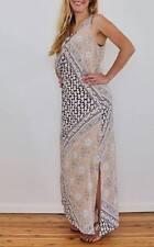 NEW WOMENS CRISS CROSS SIDE SPLITS PEACH MAXI DRESS SIZE 8,10 S M ON SALE