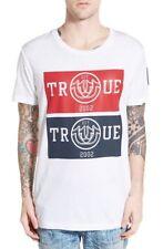 True Religion Men's Elongated Graphic T-Shirt W/Patch White MC565CS32