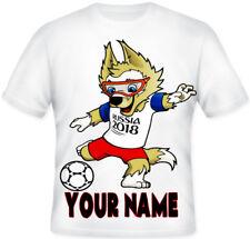 KIDS Boys Girls Russia 2018 Mascot Football Top Personalised T shirt!!