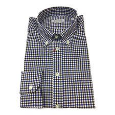 BRANCACCIO camisa de hombre botton down cuadros azul/marrón oscuro 100 % algodón