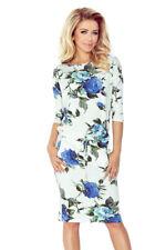 Vestido Deportivo viscosa elástico con cintura atada y manga 3/4 Flores Azules S 6-12